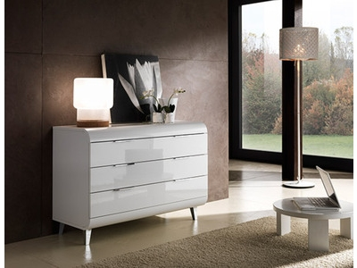 Commode 3 tiroirs Vega blanc brillant