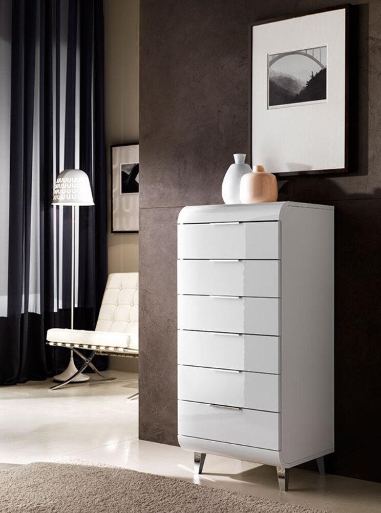 chiffonnier 6 tiroirs vega blanc brillant. Black Bedroom Furniture Sets. Home Design Ideas