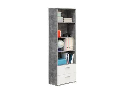 Bibliothèque Lupo béton gris/blanc mat