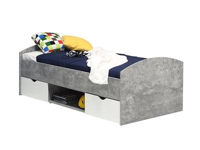 Lit Lupo béton gris/blanc mat