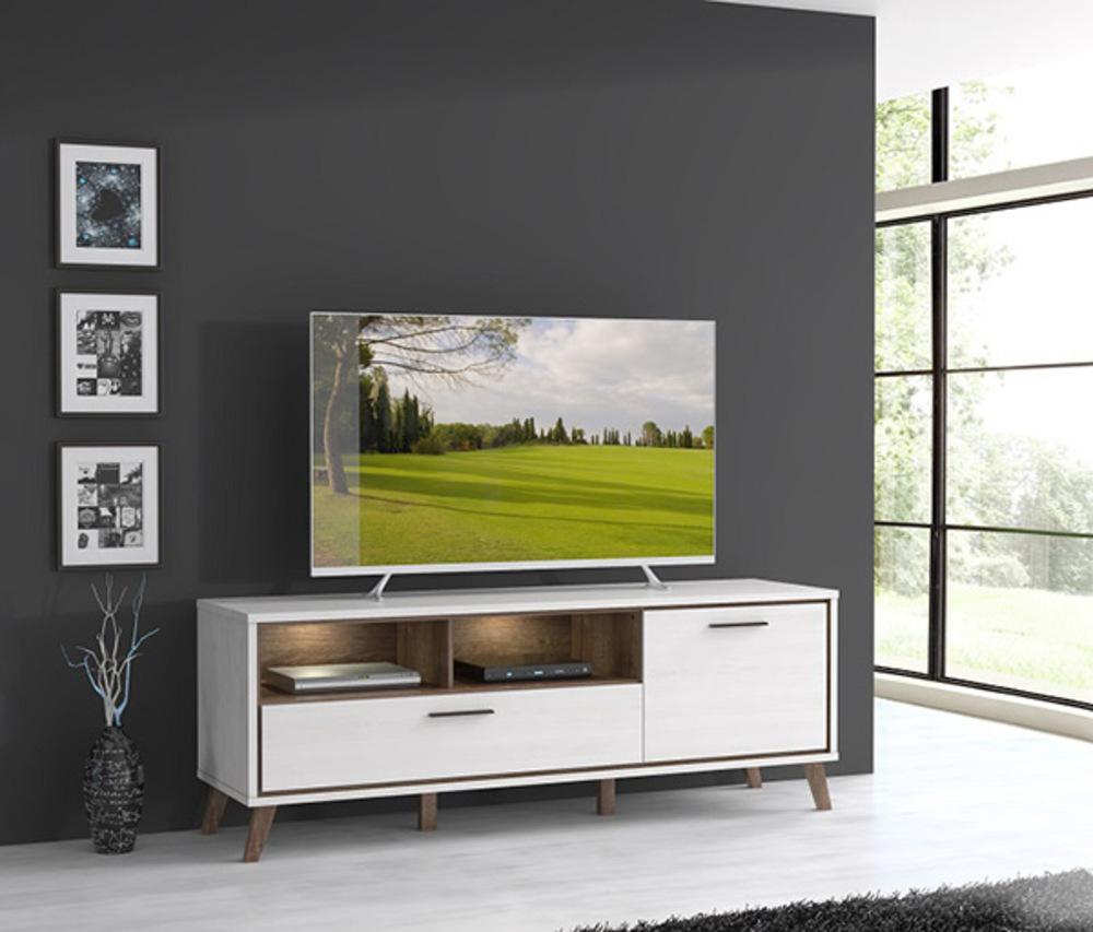 Meuble Tv Malvin Chene Neige Chene Noble # Meuble Tv Grande Longueur
