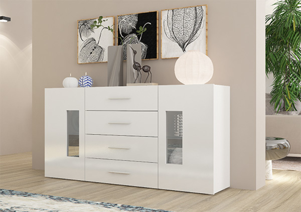 bahut 2 portes 4 tiroirs daiquiri blanc brillant. Black Bedroom Furniture Sets. Home Design Ideas