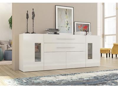 Bahut 4 portes et 2 tiroirs Daiquiri blanc brillant