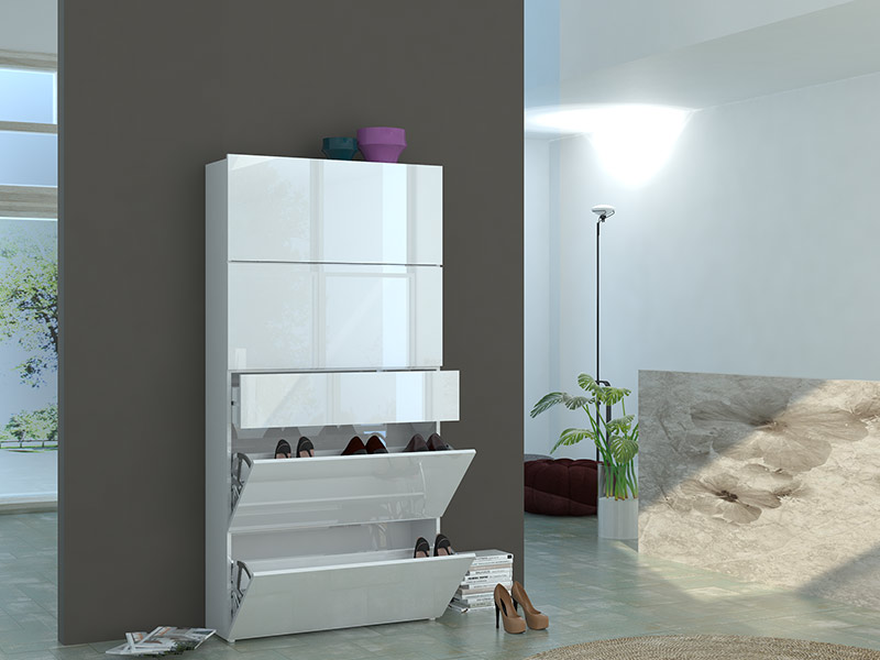 meuble chaussure 4 abattants 1 tiroir kalava blanc brillant. Black Bedroom Furniture Sets. Home Design Ideas