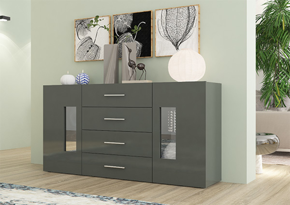 bahut 2 portes 4 tiroirs daiquiri gris anthracite brillant. Black Bedroom Furniture Sets. Home Design Ideas