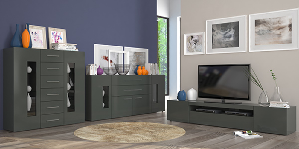 bahut 4 portes et 2 tiroirs daiquiri gris anthracite brillant. Black Bedroom Furniture Sets. Home Design Ideas