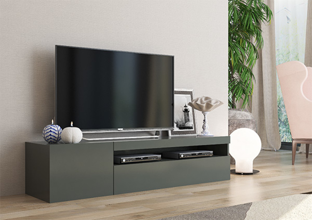 Meuble tv Daiquiri gris anthracite brillant