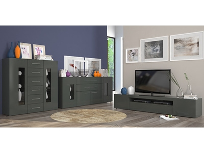 meuble tv daiquiri gris anthracite brillant. Black Bedroom Furniture Sets. Home Design Ideas
