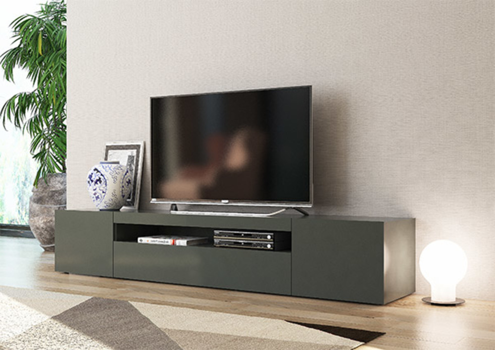 meuble tv gm daiquiri gris anthracite brillant. Black Bedroom Furniture Sets. Home Design Ideas
