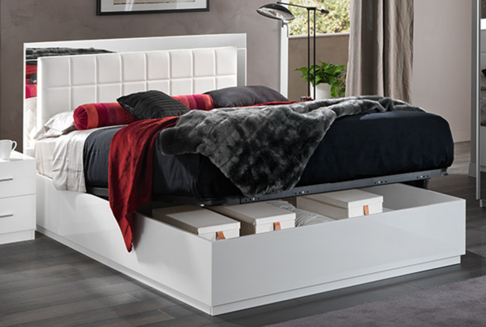 lit avec coffre de rangement cleo blanc. Black Bedroom Furniture Sets. Home Design Ideas