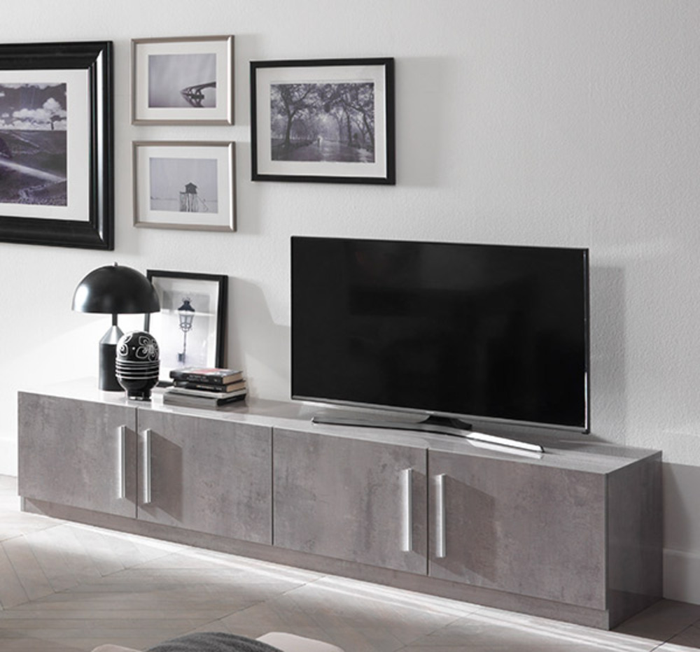 meuble tv greta laqu gris b tonl 208 x h 45 x p 47. Black Bedroom Furniture Sets. Home Design Ideas