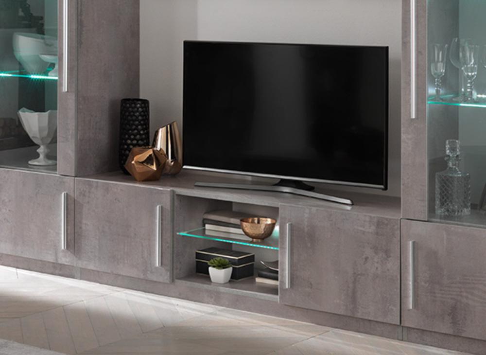 Meuble Tv Greta Laqu Gris B Tonl 156 X H 45 X P 47 # Meuble Tv Laque Gris