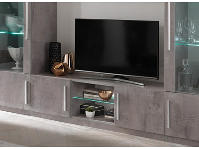 Meuble tv Greta laqué gris/béton