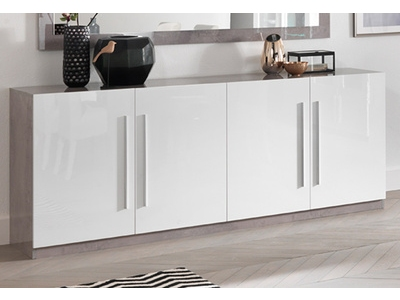 Bahut 4 portes Greta laqué blanc/béton