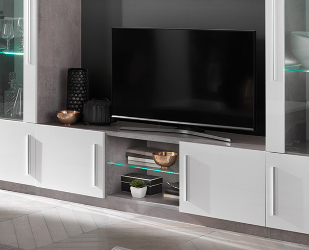 Meuble tv greta laqu blanc b tonl 156 x h 45 x p 47 - Meuble tv hifi blanc laque ...
