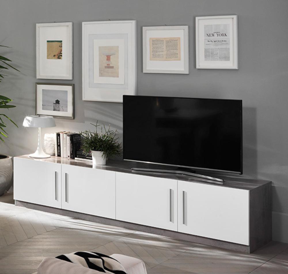 Meuble Tv Greta Laqu Blanc B Tonl 208 X H 45 X P 47 # Meuble Laque Blanc Tv