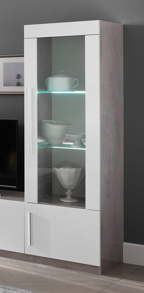 vitrine 1 porte avec leds greta laqu blanc b ton. Black Bedroom Furniture Sets. Home Design Ideas