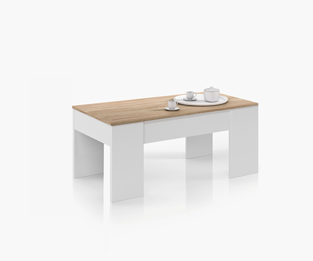 Table basse relevable didou blanc chene for Table basse hauteur 55 cm