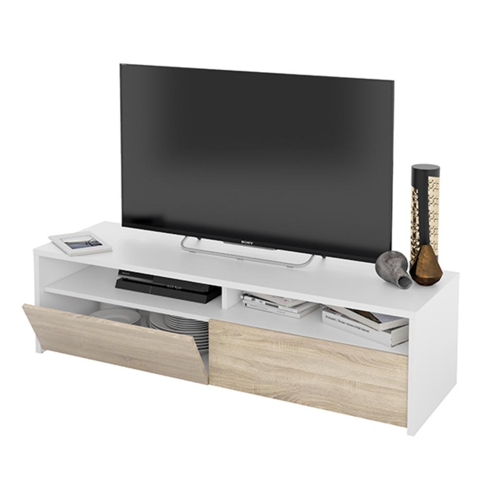 meuble tv koti blanc chene. Black Bedroom Furniture Sets. Home Design Ideas