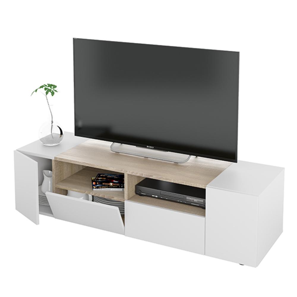 Meuble Tv Komi Blanc Chene # Meuble Tv Blanc Chene