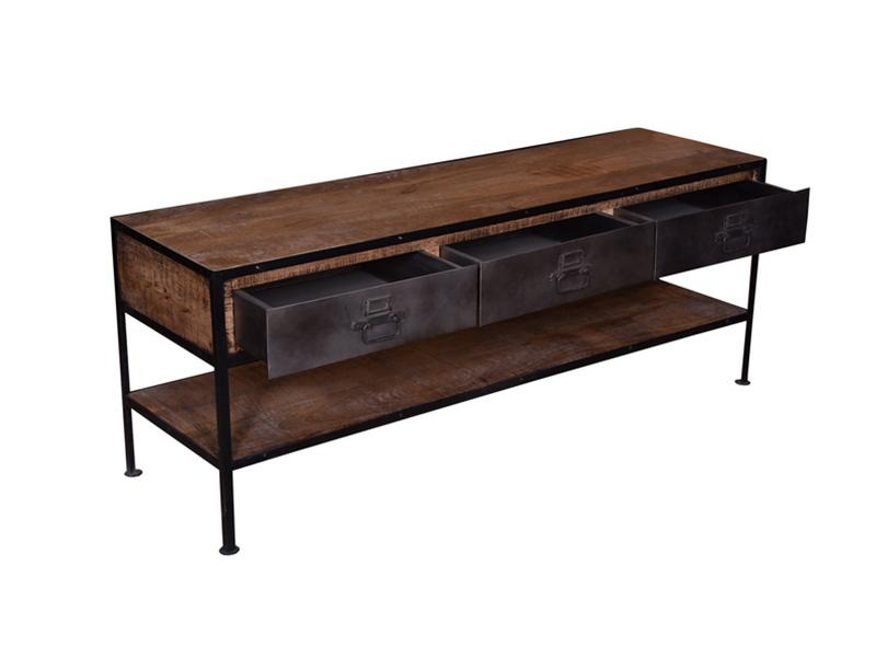 meuble tv factory bois fer. Black Bedroom Furniture Sets. Home Design Ideas