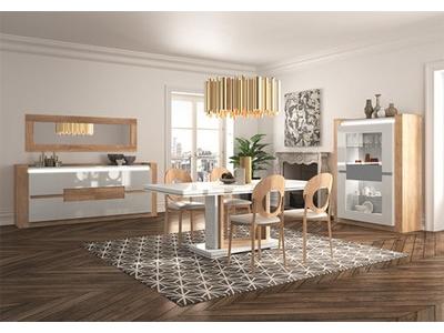 table basse 1 tiroir rimini chene gris laqu. Black Bedroom Furniture Sets. Home Design Ideas