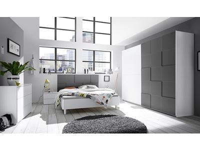 Commode 3 tiroirs Ottica blanc/gris anthracite mat