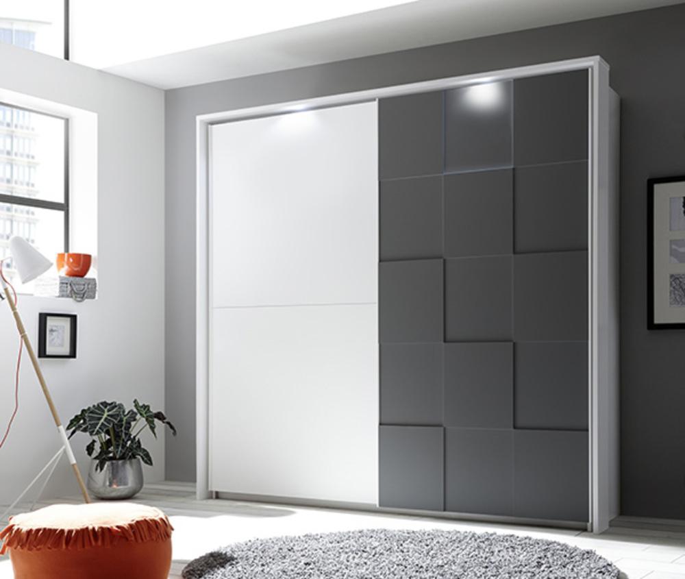 Chambre Gris Anthracite Et Blanc armoire ottica blanc/gris anthracite mat