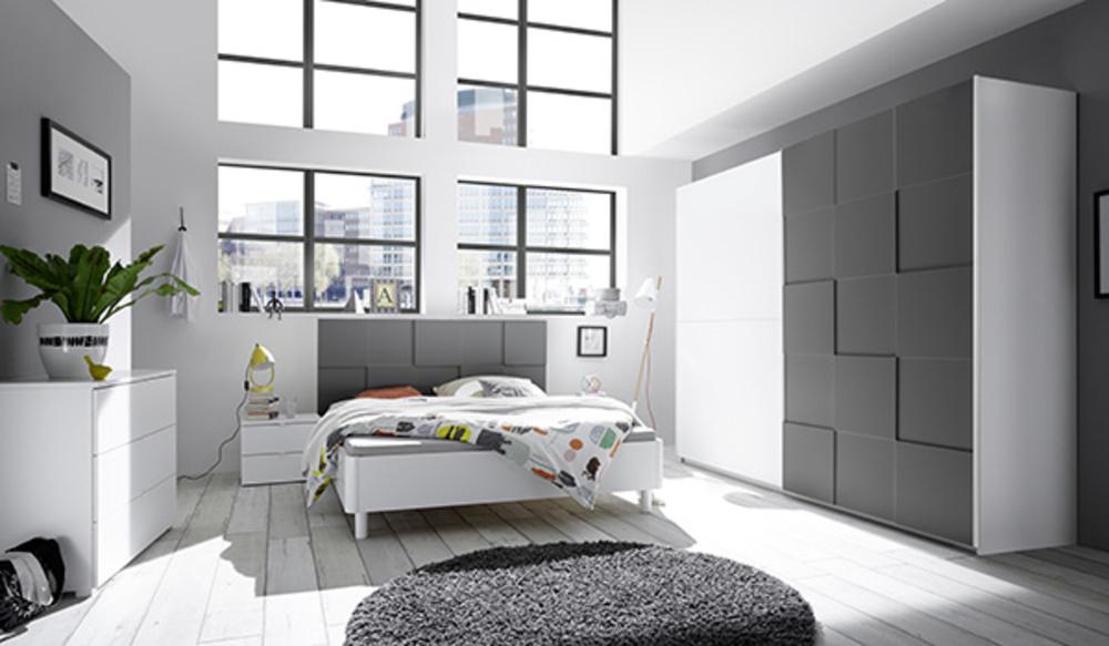 Armoire ottica blanc gris anthracite mat blanc mat gris - Tinte per interni camere da letto ...