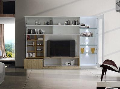 Living Line compact laqué brillant/chene miel