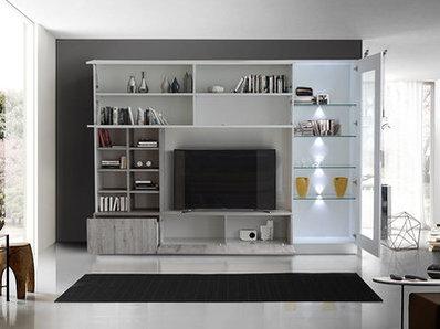 Living Line compact laqué brillant/chene gris