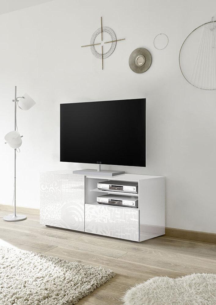 Meuble tv miranda laqu blanc s rigraphi - Meuble tv hifi blanc laque ...