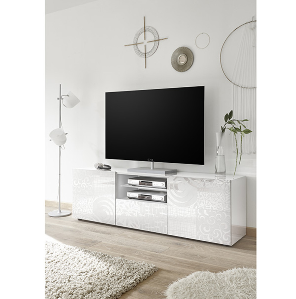 meuble tv gm miranda laqu blanc s rigraphi. Black Bedroom Furniture Sets. Home Design Ideas