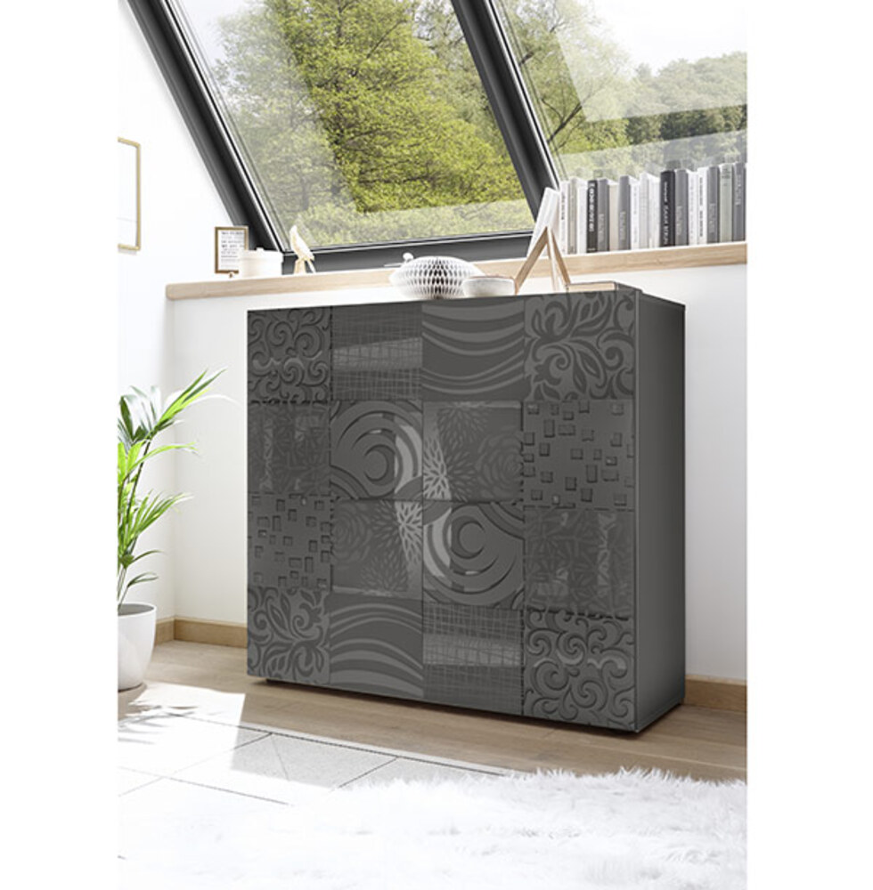 meuble de rangement miranda laqu grise s rigraphi laqu gris s rigraphi. Black Bedroom Furniture Sets. Home Design Ideas