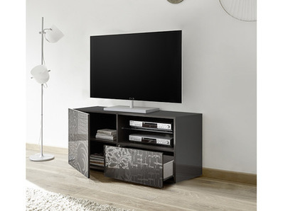meuble tv miranda laqu grise s rigraphi laqu gris. Black Bedroom Furniture Sets. Home Design Ideas