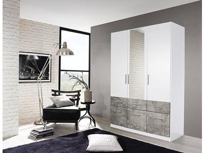 Armoire 3 portes dont 1 miroir+ 6 tiroirs Lorch-extra blanc/béton