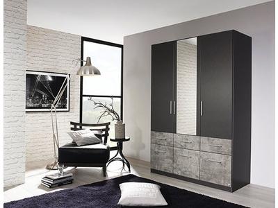 Armoire 3 portes dont 1 miroir+ 6 tiroirs Lorch-extra gris/béton