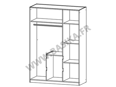 Armoire 3 portes 2 tiroirs Nidda blanc/chene