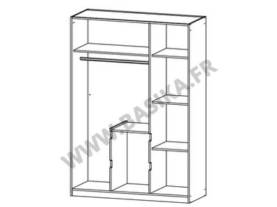 Armoire 3 portes 2 tiroirs Nidda blanc