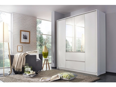 Armoire 4 portes 2 tiroirs Nidda blanc