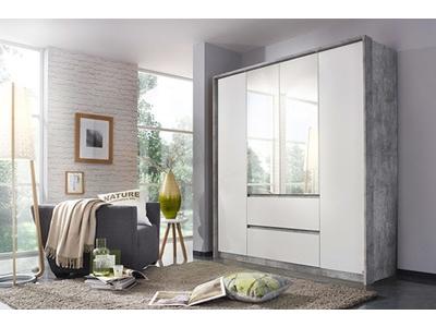 Armoire 4 portes 2 tiroirs Nidda blanc/béton