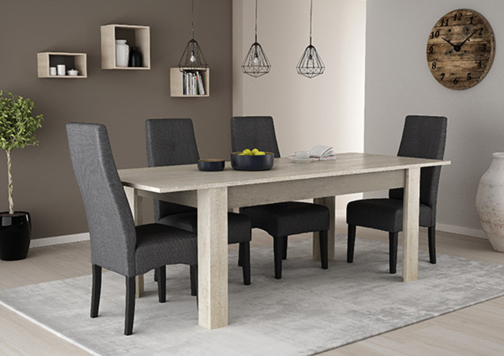 Table De Repas Extensible Antibes Chene Champagne Beton Clair