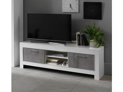 Meuble tv Modena laquée blanc/béton