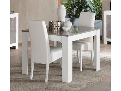 Table de repas Modena laquée blanc/béton