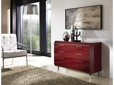 Commode 3 tiroirs Vega rouge brillant