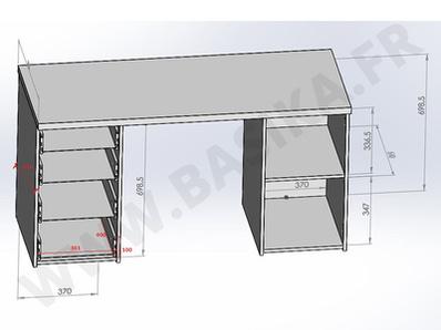 Bureau 1 porte et 4 tiroirs Abro 2