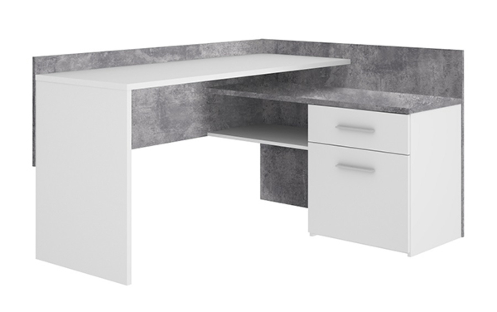 Bureau d angle tiroirs net blanc béton