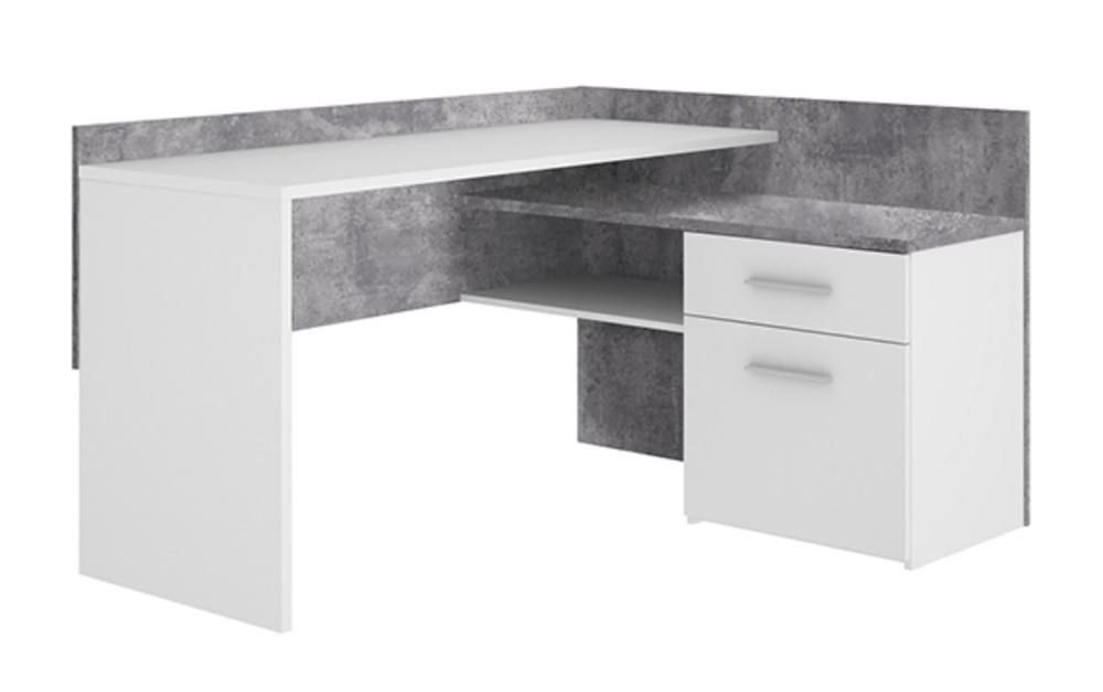 Bureau dangle 2 tiroirs net 2 blanc béton