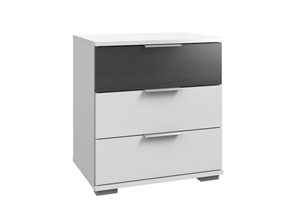 Chevet 3 tiroirs Virgo chene noir/blanc