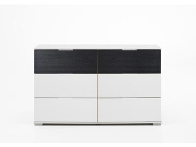 Commode 6 tiroirs Virgo chene noir/blanc